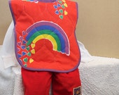 Red Rainbow Quilted Cotton Vintage Fabric Full Coverage Large Toddler Bib Safe Design Baby Bib with arm holes Unique Unisex Baby Gift Idea