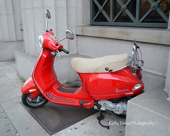paris photography red vespa french vespa scooter paris in. Black Bedroom Furniture Sets. Home Design Ideas