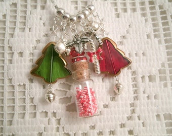Sale Candy Cane Vial Necklace Glass Mini Bottle Glass Christmas Trees and holly berry charms and silver plated bell charms