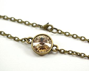 Light Brown Bracelet Champagne Crystal Silk Swarovski Crystal Tan Beige Antiqued Brass Chain