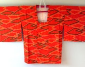 SALE 1950s GEOMETRIC Michiyuki KIMONO Boho Orange