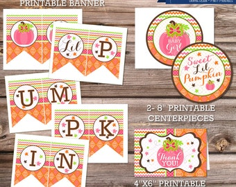 Sweet Pumpkin Baby Shower, Party Package, Printable, Cupcake Toppers, Little Pumpkin on The Way, Centerpiece, Baby Shower invitation, Fall