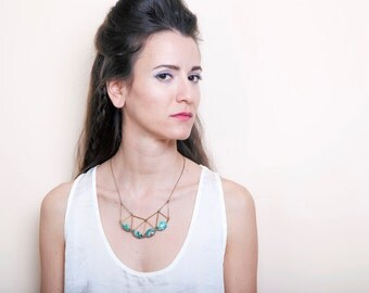 Geometric Statement Necklace, Triangle Himmeli Necklace, Gemstone Bib Necklace, Brass and Stone Necklace