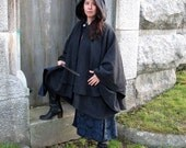 Double Cape - Wool Cape - Charcoal Grey Cape - Cape With Hood - Hooded Cape