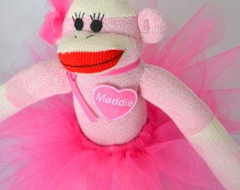 Personalized Pink Ballerina Sock Monkey Doll
