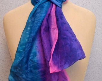 Long vintage silk scarf: Hand Painted Blue Purple and Pink