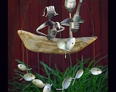 Father And Daughter Fishing Trip, Spoon Fish Wind Chime, Gift For Dads, Father Gift, Best Gift On Etsy, Unique Etsy Gifts, Father Daughter