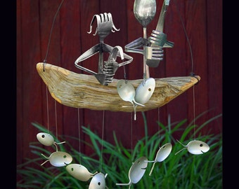 5th Wedding anniversary, Fishing Couple and Spoon Fish Wind Chime, silver and wood anniversary gift gift, traditional wedding gift, couple