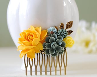 Yellow Rose Grey Flowers Hair Comb, Yellow and Gray Wedding Hair Accessory, Yellow Flower Leaf Branch Bridal Hair Comb, Bridesmaid Gift