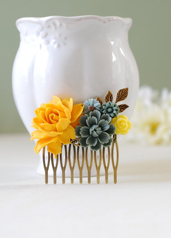 Yellow rose grey flowers hair comb yellow and gray wedding yellow rose grey flowers hair comb yellow and gray wedding hair accessory yellow flower leaf branch bridal hair comb bridesmaid gift mightylinksfo