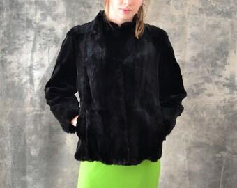 1950s Black Fur Coat