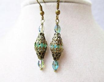 Teal Crystal & Czech Glass Bronze Filigree Encased Orb Earrings