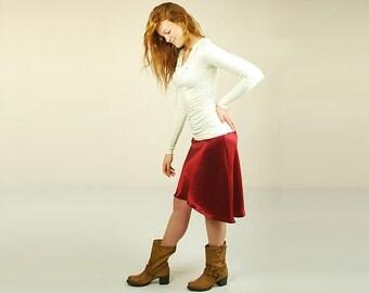 SALE Women's Skirt Eco Friendly - Red Hemp Silk Skirt - Bias Cut - High Low Hemline - Silk Skirt