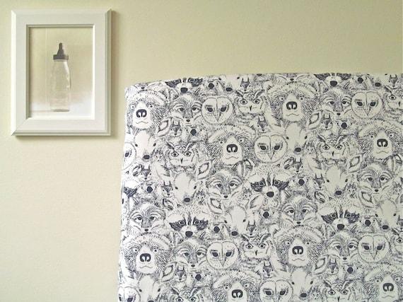 Crib Sheet Menagerie Woodland Animals Dark By Fernlesliebaby
