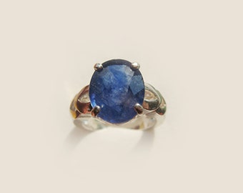 Large Natural Blue Sapphire In Sterling Silver Cocktail Ring, 6.81ct. Size 6.75