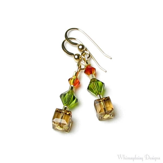 Autumn Leaves Fall Colors Swarovski Crystal Earrings, 14K Gold Filled, Fall Leaves Brown Olive Green Leaf Fire Opal Orange Gifts For Teacher