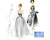 1950s Evening Dress Pattern Uncut Vogue V8874 Vintage Reissue Fit and Flare Full Skirt Formal Wedding Bridal Prom Womens Sewing Patterns