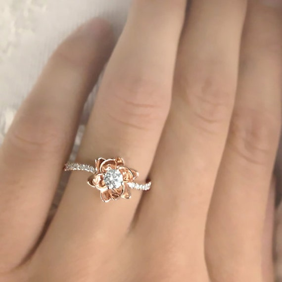 Flower Design Diamond Engagement Ring 14k Rose Gold By