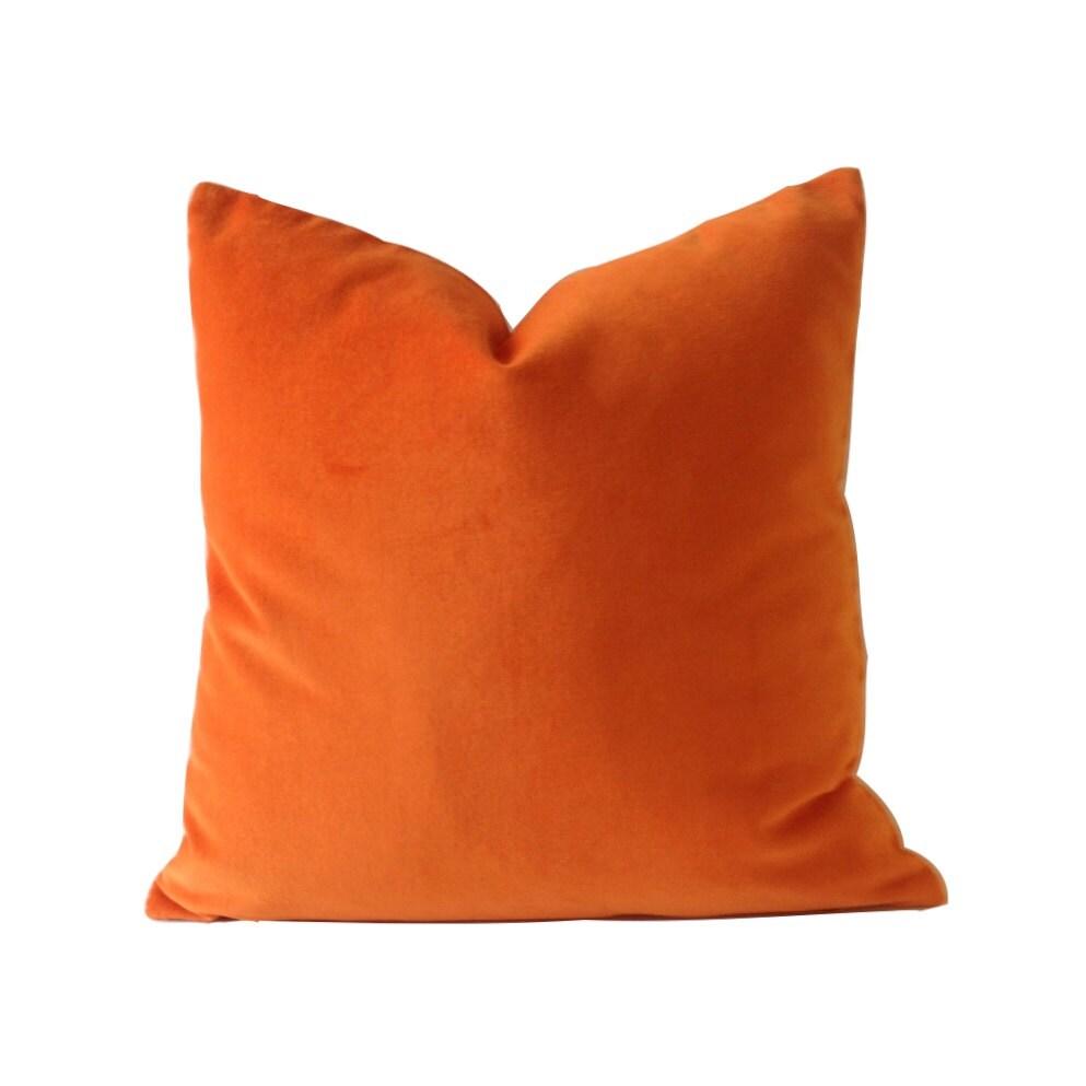 Orange Velvet Cotton Velvet Pillow Cover Decorative Accent