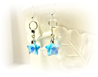 Aqua Blue Star Crystal Earrings - Crystal Stars - Gifts for Her