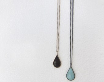 Silver Necklace - Sterling Silver Drop Enamel Pendant Necklace - Black or Pale Blue Enamel Drop Charm - Silver Charm - Minimalist Necklace