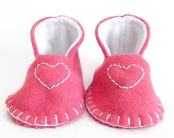 New! VALENTINES BABY BOOTIES - Mini High Tops - Dark Pink, Blanket Stitched, Heart - Girl - Felt Slippers, Pregnancy Announcement, 0-6 Month