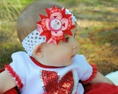 My First Valentines Day Hair Bow - Valentines Day Hair Bow - Red and Pink Hair Bow - Valentines Day Headband - Newborn Headband - Baby Bow