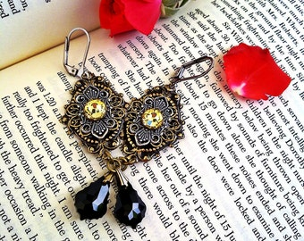 Gothic Earrings Swarovski Earrings Crystal Earrings Dangling Earrings Jet Black Earrings Jonquil, Gothic Jewelry