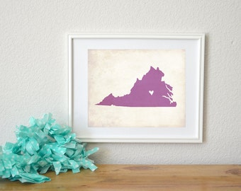 Virginia Rustic State Map. Personalized Virginig Map. Virginia Wedding Art. Wedding Gift. Engagement Gift. Art Print 8x10.