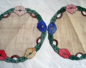 Vintage Set Of Four Handmade Linen Doilies - Round, Floral, Very Pretty!