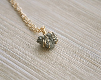 Natural Pyrite Nugget Pendulum Necklace, free shipping