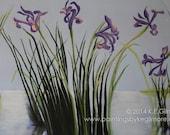 Iris painting, original realistic floral landscape , on 24x36 inch linen canvas, in violet, light blue, & dark green.