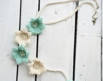Lily Lariat Necklace, Crochet Necklace, Oya Beaded Necklace, Flowers Collar, Y Necklace, Summer Scarf, Women's Gift, ReddApple