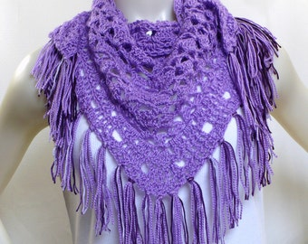 Hand Crocheted Lavender Shawl - Triangle Shawl with fringe, Purple Hippie Shawl, Gifts for Her, Handmade in the USA, Ready to Ship