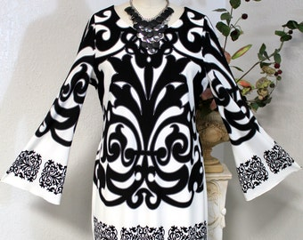 New Limited Edition Classic and Gorgeous Plus size top in Fabulous Black white print, L, XL,1XL