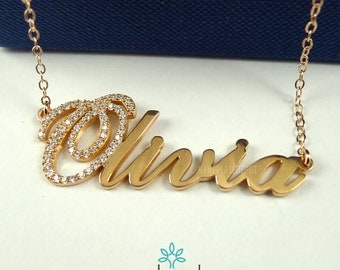 3d nameplate necklace name jewelry diamond accent 14 gold. Black Bedroom Furniture Sets. Home Design Ideas