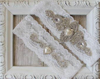 "Garter Set - Crystal Pearl Garter - Custom Bridal Garter Set with ""Pearls"" and Rhinestones on Comfortable Lace, Crystal Garter Set"