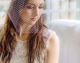 Bridal blusher veil, large pouf wedding veil, wedding blusher,   Russian veiling, full blusher veil, Style 622