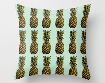 Pineapple Pillow -  Retro Pillow Cover -  Food Pillow -  Fruit Pillow Case - Blue Vintage Pineapple Cushion 16x16 18x18 20x20 Pillow Cover