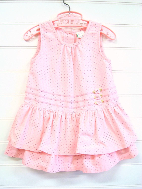 Vintage Baby Clothes Baby Girl Corduroy Jumper Pink Polka