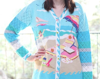 Vintage 90s Beach Summer Sailing Cardigan Sweater by Storybook Knits / Size Small