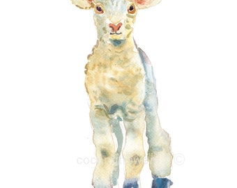 Childrens Art, Nursery Art, Kids Art, Animal Painting, Watercolor Painting, Nursery Art Print-  Lamb