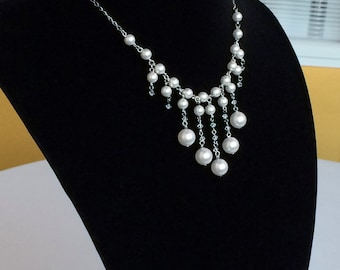 Swarovski Crystal Pearls Stainless Steel Statement Necklace, Classy Chic Victorian Brides Bridesmaids Necklace N78
