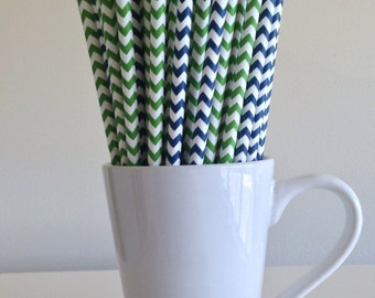 Green and Navy Paper Straws Navy Blue and Kelly Green Chevron Party Supplies Party Decor Bar Cart Cake Pop Sticks Graduation