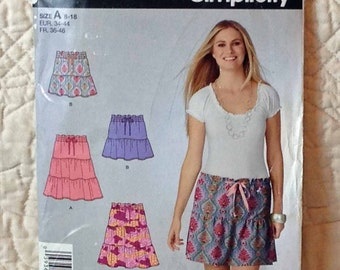 Skirt, S M L, Simplicity 2214 Pattern, Tiered, Drawstring Elastic Waist, 2011 Uncut, Size 8 10 12 14 16 18