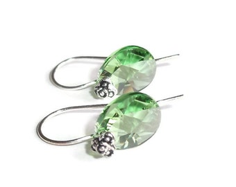 Gift for Her, August Birthdays, Bali Sterling Silver and Peridot Green Swarovski Crystal Earrings, Unique Flower Tipped Earwires, SRAJD