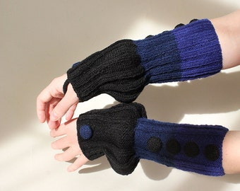 hand-knitted hand warmers/arm warmers/ long fingerless gloves/black-dark blue-blue color/made from wool