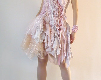 Items similar to wedding dress the new tattered ranch for Cream and purple wedding dresses