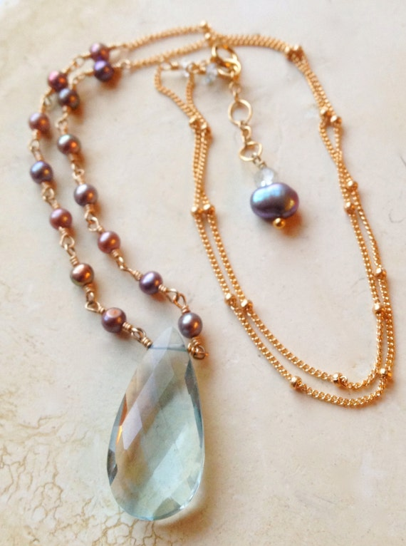 Blue Quartz Necklace Pink Pearls Blue Briolette Pendant June birthstone December Birthstone Wedding Bridal Gift for Her Throat Chakra