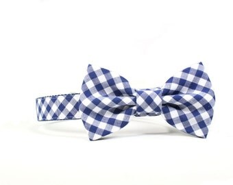 Navy Gingham Dog Bow Tie Collar Blue Check Checkered Dog Bowtie